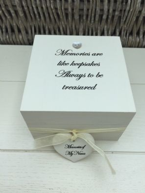 Shabby Personalised Chic In Memory Of Loved One Keepsake Box Mum Dad Nana Etc - 332367757339